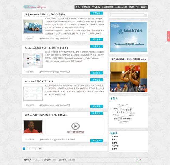 wordpress模板:中文博客aesroom主题